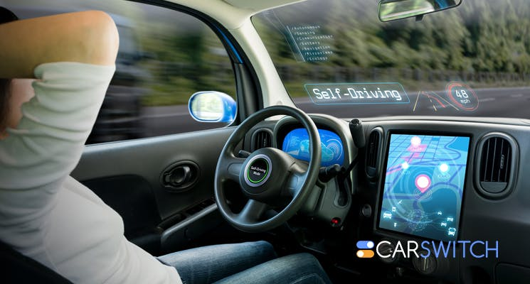 A driverless car with no steering wheels 745x400